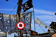 Waving Flag Posters - Pirate ship with target Poster by Garry Gay