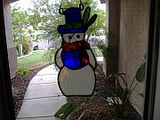 Snow Glass Art - Pirate Snowman by Arnold Quentin