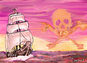 Pirates Mixed Media Prints - Pirate Sunset Print by William Depaula