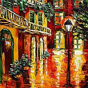 New Orleans Oil Paintings - Pirates Alley by Beata Sasik