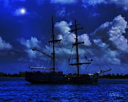 Pirate Ship Prints - Pirates Blue Sea Print by Patrick Witz