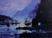 Pirate Ships Painting Posters - Pirates Cove Poster by R W Goetting