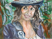 Pirates Painting Originals - Pirates of Caribbean Portrait of Penelope Cruz by Agnes Varnagy