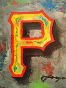 Baseball Portraits Mixed Media Posters - PIRATES Portrait Poster by Dan Haraga
