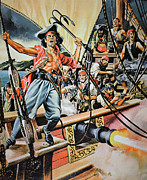 Buccaneer Painting Prints - Pirates preparing to board a Victim Vessel  Print by American School