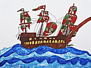 Pirate Drawings - Pirates Ship by Stephanie Ward