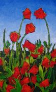 Roses Poppies Paintings - Piros Viragok by Rollin Kocsis