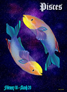 Zodiac Digital Art - Pisces by Diane Haas