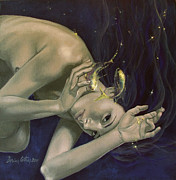 Figurative Posters - Pisces from Zodiac series Poster by Dorina  Costras