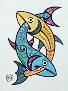 Celtic Knotwork Prints - Pisces Print by Ian Herriott