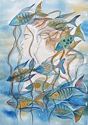 Water Drawings Prints - Pisces Print by Johanna Virtanen
