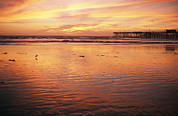 Beach Sunsets Framed Prints - Pismo Beach And Pier At Sunset Framed Print by Michael S. Lewis