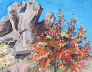 Desert Painting Originals - Pistachio Canyon by Sandy Tracey