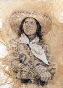 Universities Drawings Originals - Pistol Packin Cowgirl by Debra Jones