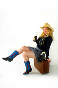 Cowgirl Skirt Posters - Pistol Packin Pinup Model Poster by Gib Martinez