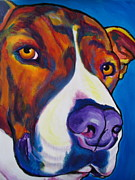 Bull Terrier Paintings - Pit Bull - Eric by Alicia VanNoy Call