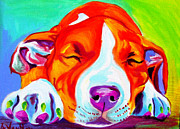 Bull Terrier Paintings - Pit Bull - Naptime by Alicia VanNoy Call