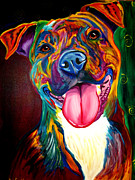 Whimsical Dog Breed Art Framed Prints - Pit Bull - Olive Framed Print by Alicia VanNoy Call