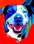 Bull Terrier Paintings - Pit Bull - Shiloh by Alicia VanNoy Call