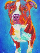 Bull Terrier Paintings - Pit Bull - Squigs by Alicia VanNoy Call