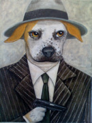 Pinstripes Paintings - Pit Bull Boss by Fairy Tails Portraits