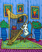 Jay Schmetz Framed Prints - Pit Bull Playing the Harp Framed Print by Jay  Schmetz