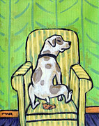 Jay Schmetz Metal Prints - Pit Bull Terrier Doing a Number 2 in a Chair Metal Print by Jay  Schmetz