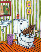Jay Schmetz Metal Prints - Pit Bull Terrier in the Bathroom Metal Print by Jay  Schmetz