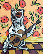 Jay Schmetz Metal Prints - Pit Bull Terrier Playing Guitar Metal Print by Jay  Schmetz