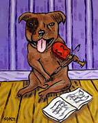 Jay Schmetz Metal Prints - Pit Bull Terrier Playing Violin Metal Print by Jay  Schmetz