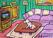 Jay Schmetz Framed Prints - Pit Bull Terrier Watching Television Framed Print by Jay  Schmetz