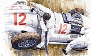 Sports Paintings - Pit Stop German GP 1939 Mercedes Benz W154 Rudolf Caracciola by Yuriy  Shevchuk
