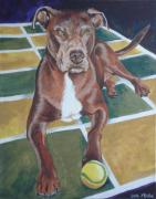 Bully Originals - Pit with ball on rug by Laura Bolle
