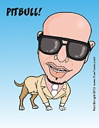 Rapper Digital Art - Pitbull Rapper Caricature by Rick Enright