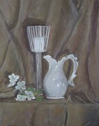 Drapery Pastels Prints - Pitcher and Candle Print by Elizabeth  Ellis