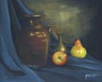 Cloth Paintings - Pitcher and Fruit by Debbie McIntyre