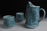 Fly Fishing Ceramics - Pitcher and Mugs by Mark Chuck