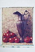 Red Fruits Framed Prints - Pitcher and tomatoes Framed Print by Garry Gay