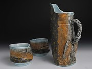 Fly Fishing Ceramics - Pitcher and Yunomis  by Mark Chuck