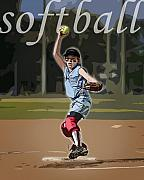 Sports Art Digital Art Posters - Pitcher Poster by Kelley King