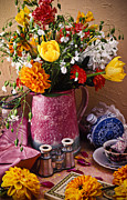 Mums Prints - Pitcher of flowers still life Print by Garry Gay