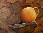 Pottery Pitcher Originals - Pitcher on Stone Ledge by Susan Dehlinger