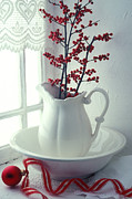 Ribbon Framed Prints - Pitcher with red berries  Framed Print by Garry Gay