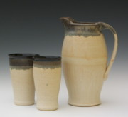 Pitcher Ceramics - Pitcher with Two Cups by Sylvia Shirley