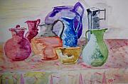 Pitchers Painting Metal Prints - Pitchers On Parade Metal Print by Jacqueline Coote