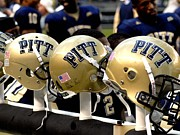 Football Helmets Posters - Pitt Helmets Awaiting Action Poster by Will Babin