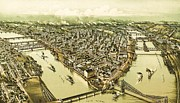 Birdseye Drawings Metal Prints - Pittsburg Pennsylvania Metal Print by Pg Reproductions