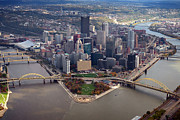 Aerial Photography Photo Framed Prints - Pittsburgh 8 in color  Framed Print by Emmanuel Panagiotakis