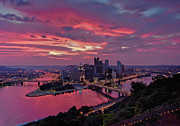 Pink Sunrise Photos - Pittsburgh Dawn by Jennifer Grover