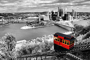 Point Park Digital Art Posters - Pittsburgh From The Incline Poster by Michelle Joseph-Long
